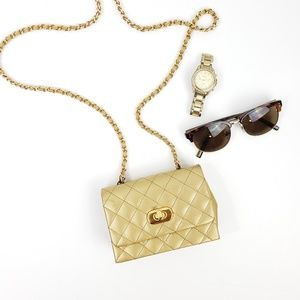 Vintage 90s Gold Quilted Mini Bag